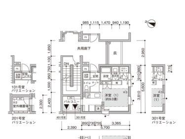 【1K -B】UR賃貸 新築「コンフォール東池袋」間取り図