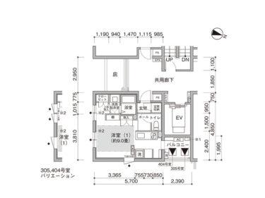 【1K -C】UR賃貸 新築「コンフォール東池袋」間取り図