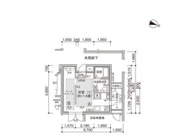 【1K -E】UR賃貸 新築「コンフォール東池袋」間取り図